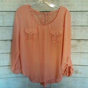 Mine peach lace back high low blouse large